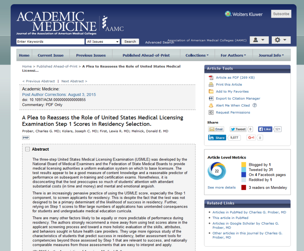 academicmedicine.org full page screenshot