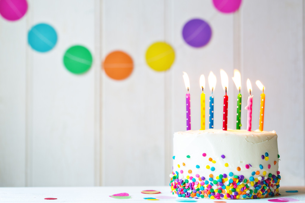 Birthday cake with colorful candles